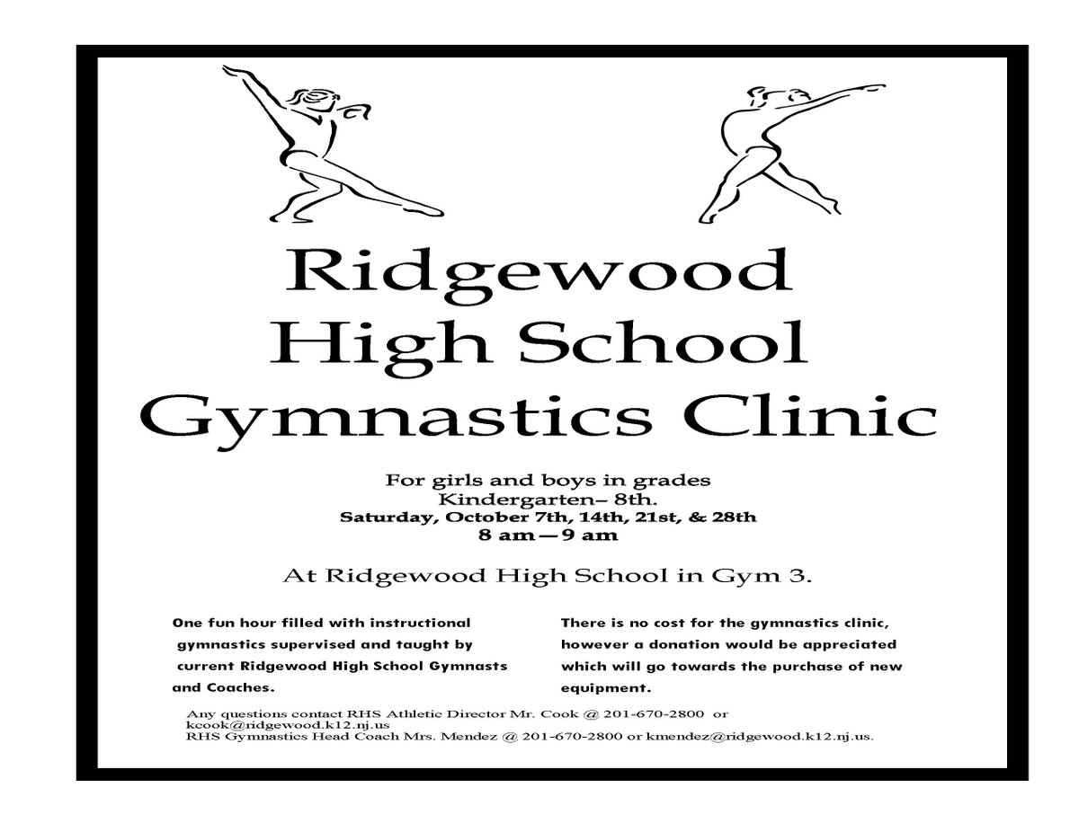 Winwin gymnastics - Rwdpubschools On Twitter Opportunity K 8 Gymnastics Clinic Is A Win Win Benefiting Rhs Gymnastics Three Saturdays Remaining Oct 14 21