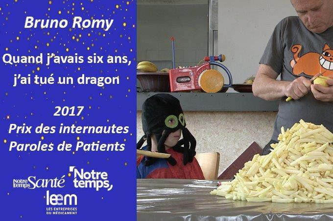 [Révélation] Prix des internautes : Bruno Romy  http:// dai.ly/k40HdrEbWAdw5I p2fhv  …  #ParolesdePatients pic.twitter.com/Sb7d8efpFK