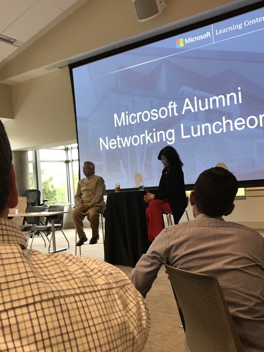 Listening to Muhammad Yunus talk about setting up banks and businesses to help improve lives. #Hero #MSFTAlum <br>http://pic.twitter.com/9gP5D0cFH1