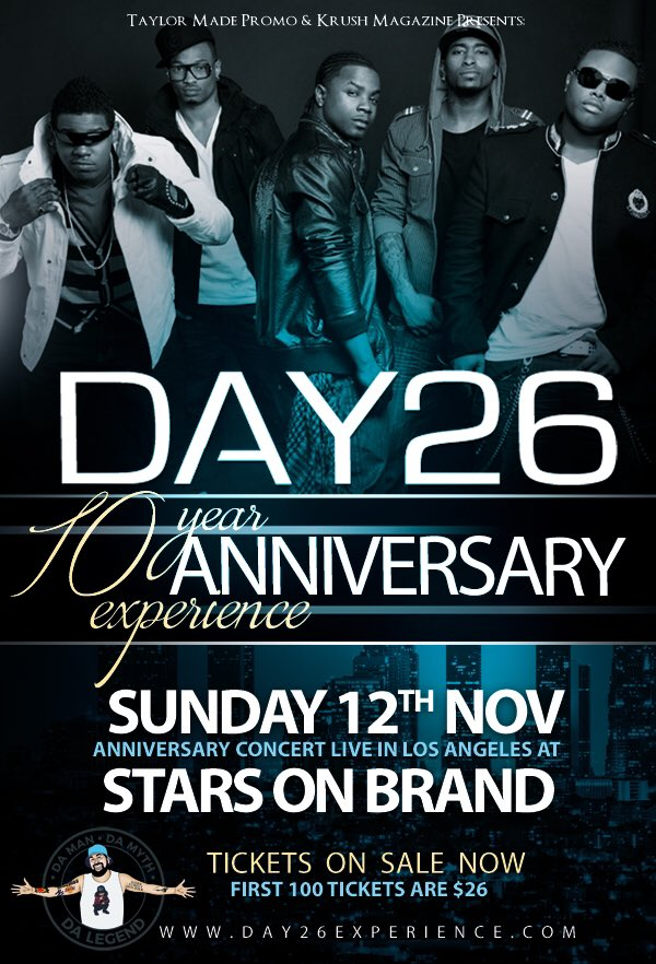 Los Angeles - Get ready for the Day26 10th Year Anniversary Sunday, Nov 12th @ Stars On Brand, Tickets on Sale NOW https://t.co/S8InZYExGP https://t.co/ir9r6niXs7