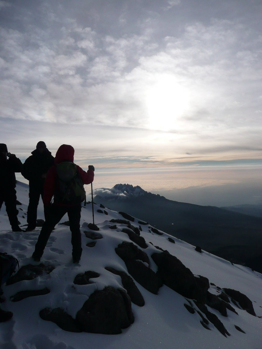 Long time ago this one but sunsrise near the peak of Kilimanjaro with Mawenzi as a backdrop &amp; with @paul_steele and Kili friends #mountains <br>http://pic.twitter.com/I9gBN9QCBB