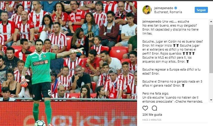 Jaime Penedo cuelga este mensaje en su Instagram