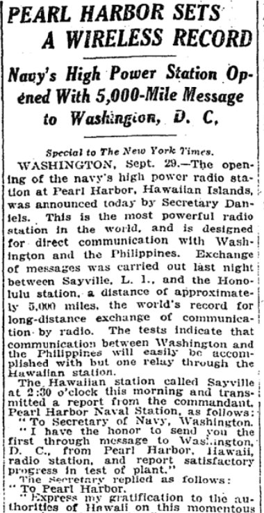 Sep 30, 1917 - New York Times: Pearl Harbor sends wireless message record distance to Washington, DC #100yearsago
