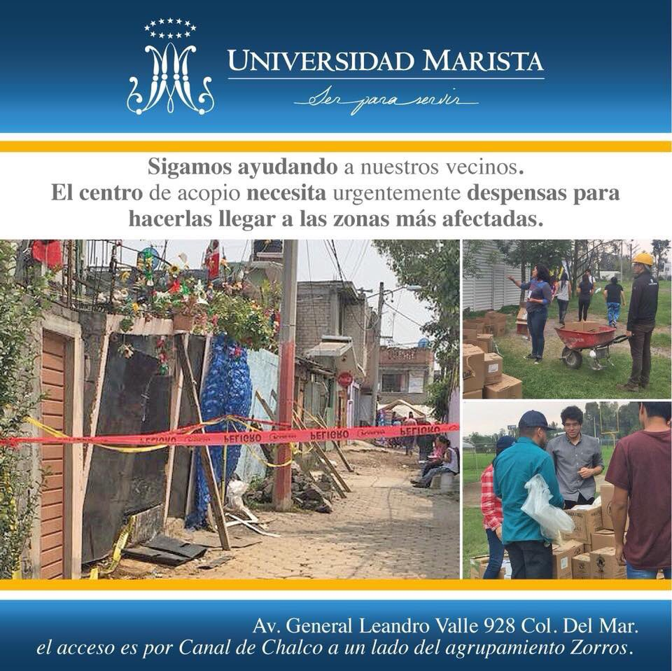 Nuestros vecinos de #Tláhuac, #Iztapalapa y #Xochimilco nos necesitan #CorazónMarista @umarista  #laGuíaCDMX #ayuda #SOS https://t.co/XcE5t6A0uV