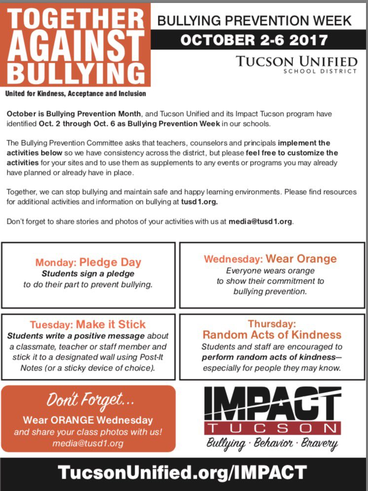 all schools should implement bullying awareness Bullying prevention in schools is a study undertaken by due to the growing awareness of bullying as an issue among young people and implement.