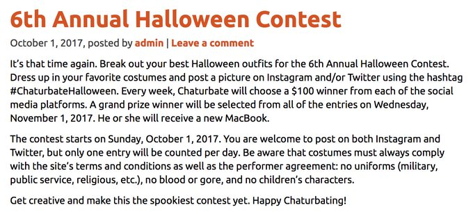 1 pic. 6th Annual Halloween Contest starts October 1, 2017. Details --> https://t.co/m1b6SODRkh 💀🎃👻 https://t