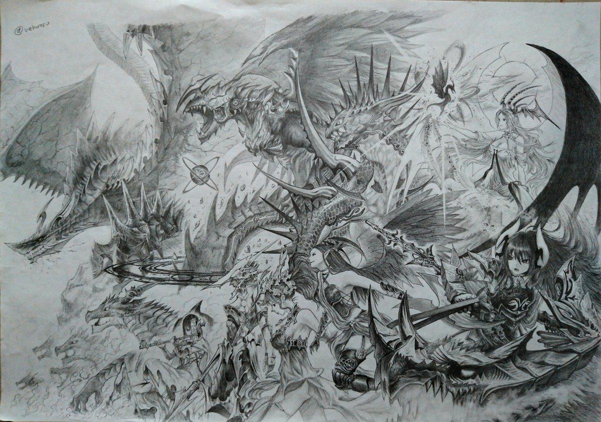 ロイヤル全レジェンド(WLD迄)描いた。ドラゴンと並べて戦ってる感じに。  無許可RT歓迎です