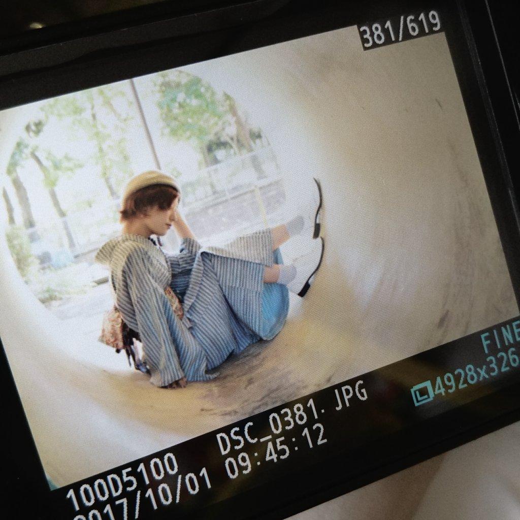 朝からモデルちゃん撮影📷 今回のテーマは、「洋服のように楽しむキモノ」 冬らしい、ひんやりとした配色。好き。 #着物 #着物コーディネート #うさぎ小町