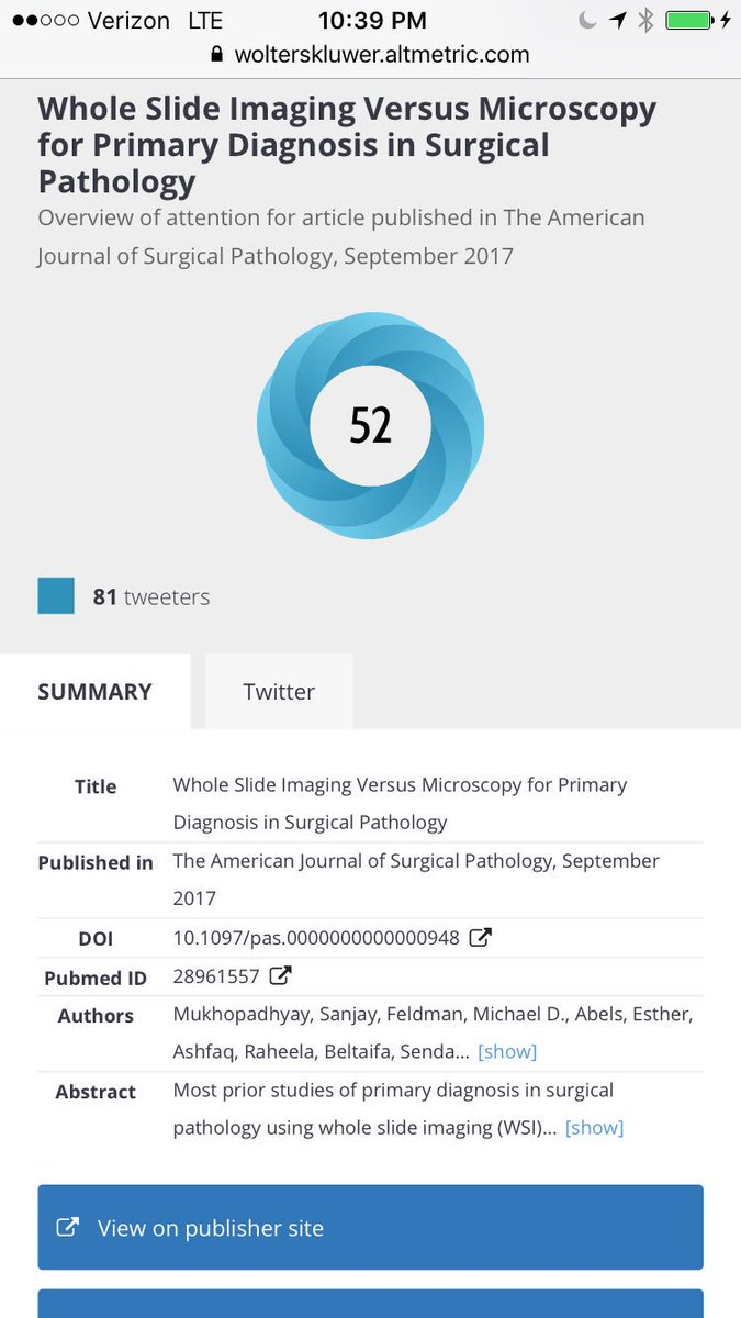#Altmetric watchers, check out the power of #SoMe   This is 1d after article was published ahead of print in @amjsurgpathol   @chioseasi<br>http://pic.twitter.com/oUf0MchQaI