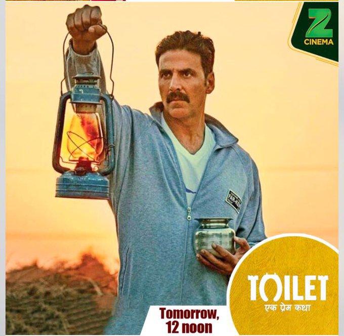 Watch Toilet - Ek Prem Katha tomorrow 12 Noon on @zeecinema as we celebrate the 3rd Anniversary of @swachhbharat mission.  #TEPKOnZeeCinema https://t.co/kl2cX0H1Zv