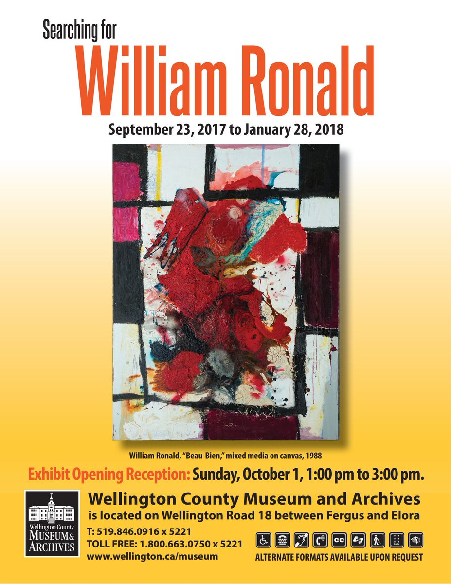 OPENING TODAY 1-3 PM!.. Searching for William Ronald... e#WilliamRonald #P11 @wellingtncounty<br>http://pic.twitter.com/zQa8MkQcbQ