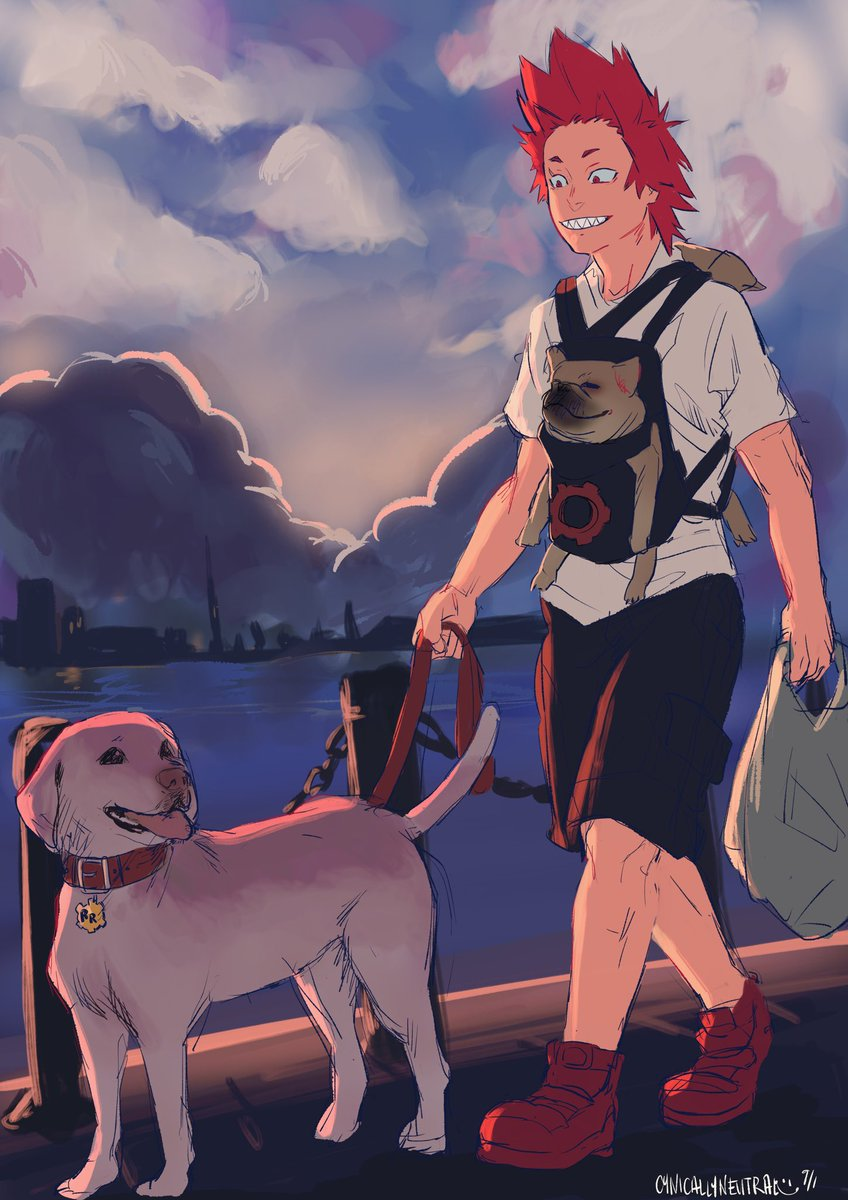Day 1: Kirishima with dogs (thats three dogs, fyi, im dead) #eijiroctober #bnha