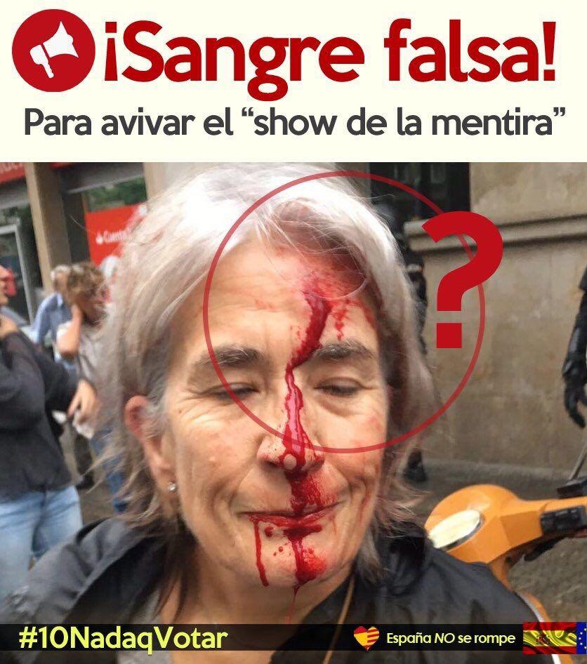 Resultado de imagen de Sangre falsa mujer cataluña POLICIAS.ES