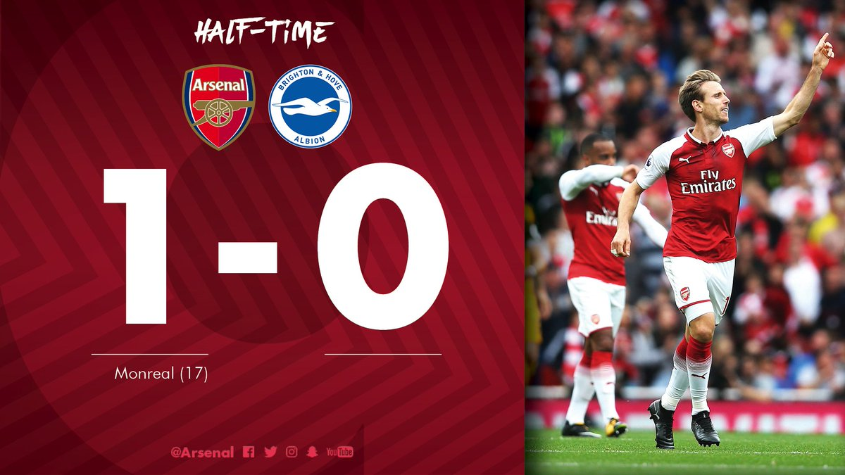 a05f0d7b7 That s all from the first half - and   nachomonreal s goal gives us the  lead at the break  AFCvBHA