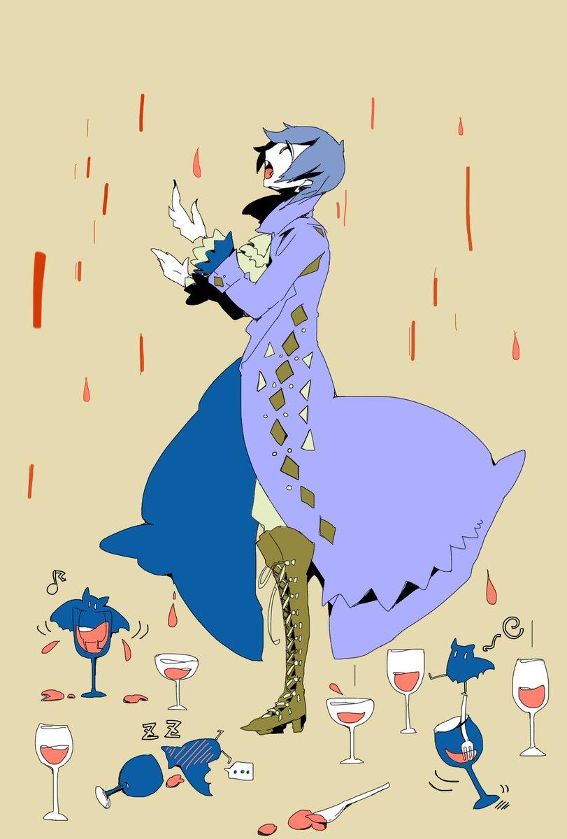 吸血鬼KAITO。 みくみくクルーズ用に描かせていただいたよ。 吸血鬼といえば血の雨かな!と思ったので雨漏りさせました。🍷  #みくみくクルーズ