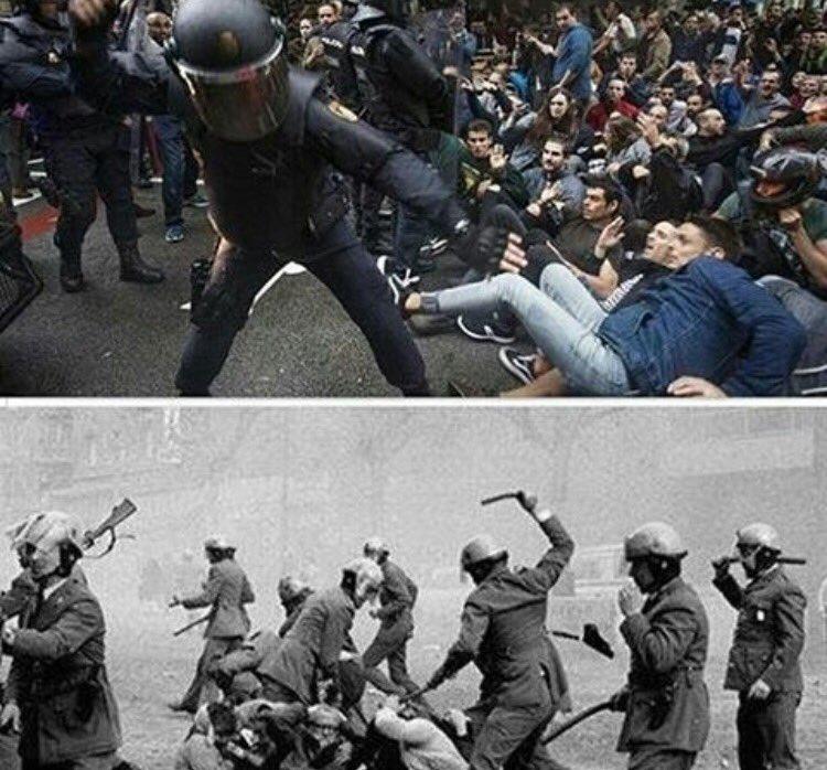 Catalonia today & Catalonia 50 years ago under Franco. #CatalanReferemdum