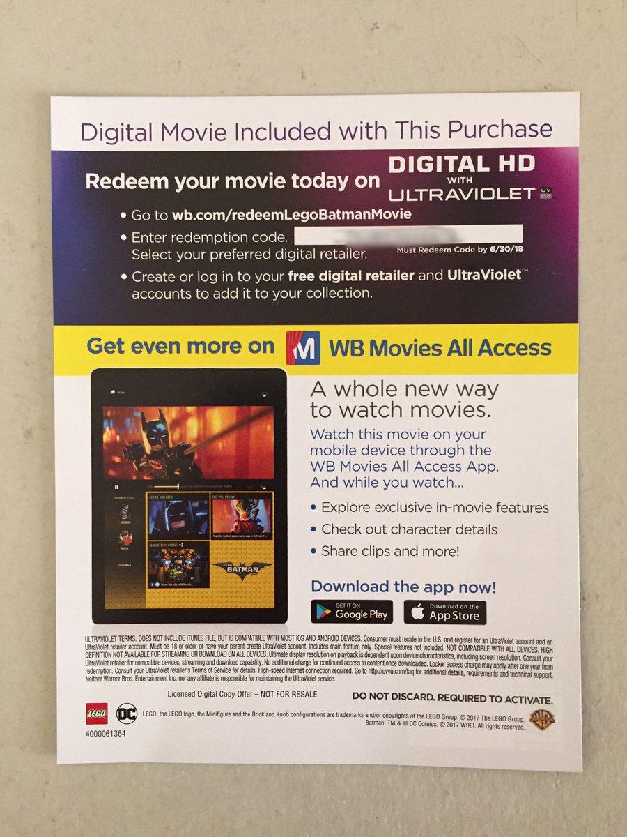 free digital movie codes 2017