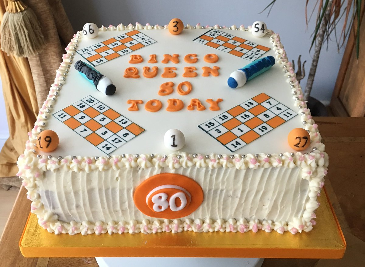 foxy cakes and bakes on twitter bingo themed 80th birthday cake