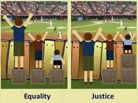 An excellent illustration of the difference between treating everyone the same and treating everyone fairly https://t.co/FI8aEEaMdo