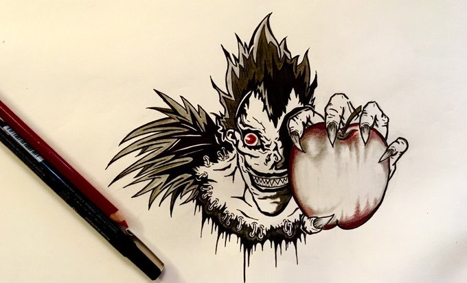 🖤 how this Shinigami sketch came out... Them apples so Juicy Ryuk #DeathNote https://t.co/pCiYu0xrRe