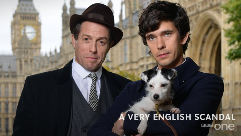 First look image: Hugh Grant and Ben Whishaw in Russell T. Davies' upcoming @BBCOne drama #AVeryEnglishScandal.