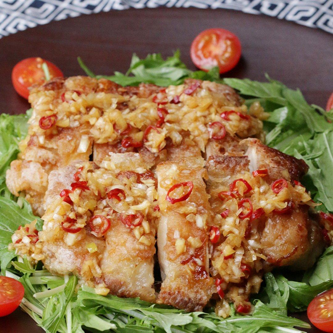 フライパンで簡単!ユーリンチー風ジャンボからあげ #tastyjapan
