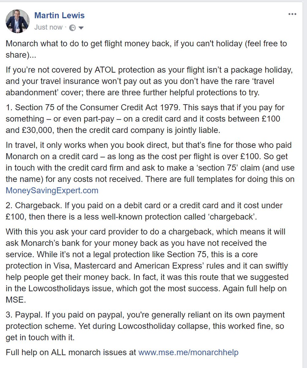 MONARCH - what to do to get flight money back if your holiday is cancelled...  pls RT to spread the word https://t.co/s2gOVnA0QY
