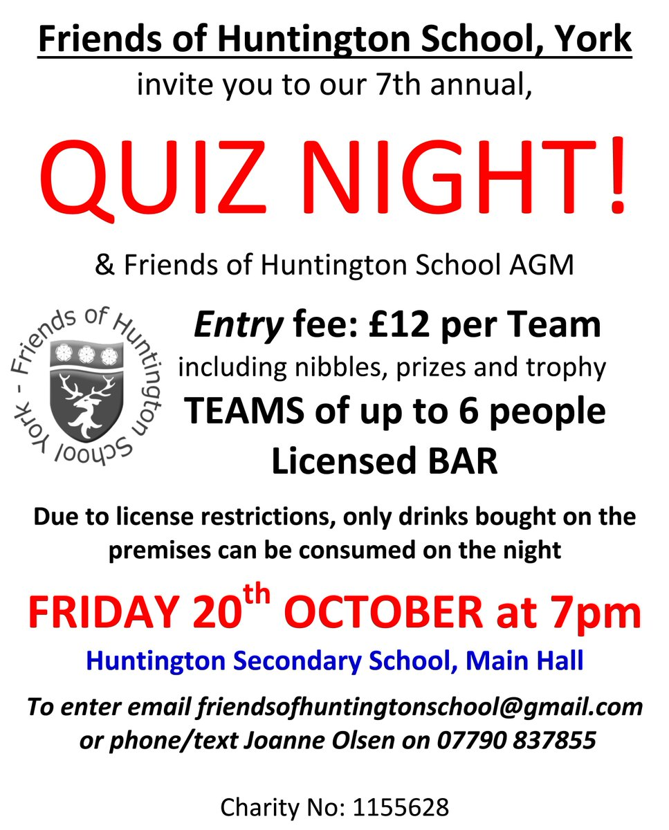 Huntington school on twitter quiz night fohsy1 invite you to a huntington school on twitter quiz night fohsy1 invite you to a quiz on friday 20th of october get your team form filled and back to us stopboris Image collections