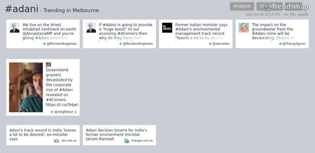 #adani is now trending in #Melbourne  https://t.co/z6ufCPXGQN https://t.co/IAOWJk1oFr