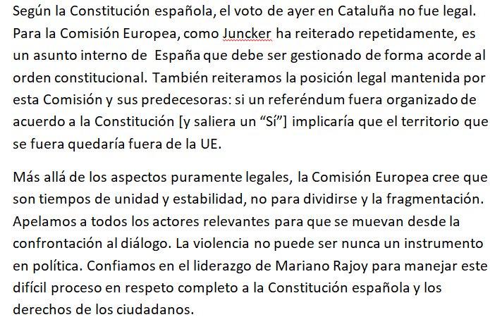 Aquí, la posición de la Comisión Europea sobre lo ocurrido en Cataluña ayer https://t.co/lkLp2tAki1