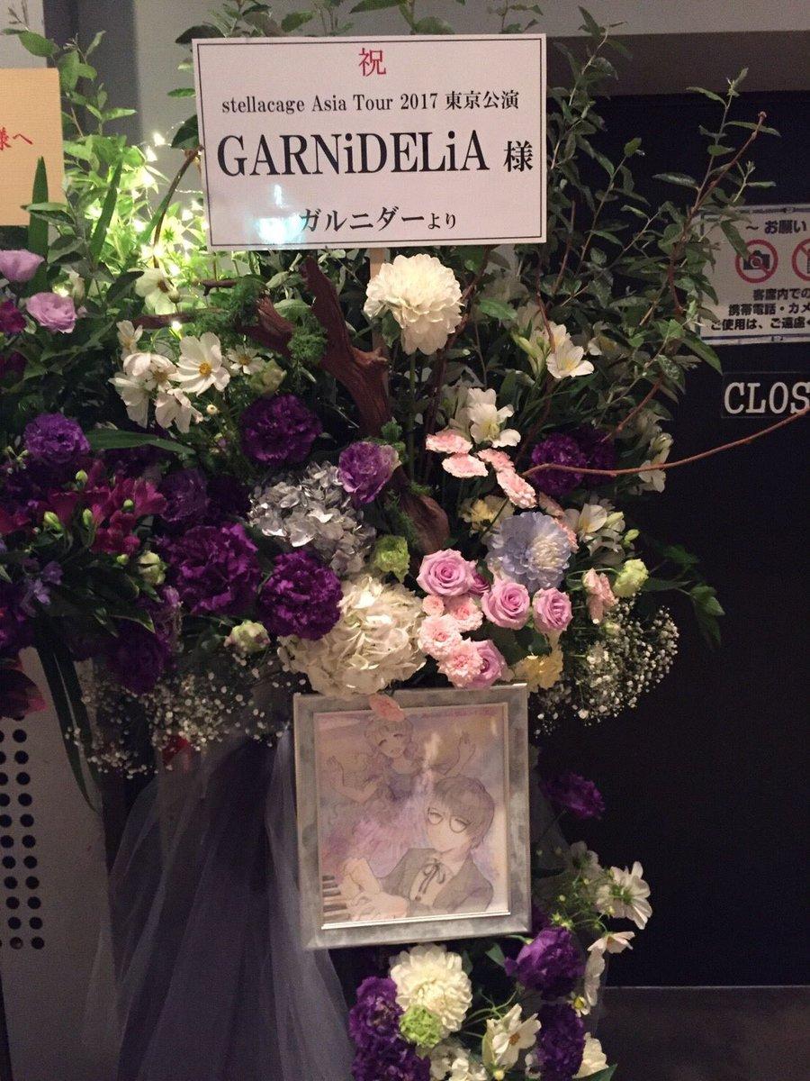 ガルニダーのみんなからもお花届いてました!嬉しい😭💕  カミサマお花すごいっ! 色紙のイラスト嬉しい💜  ほんとにありがとー✨