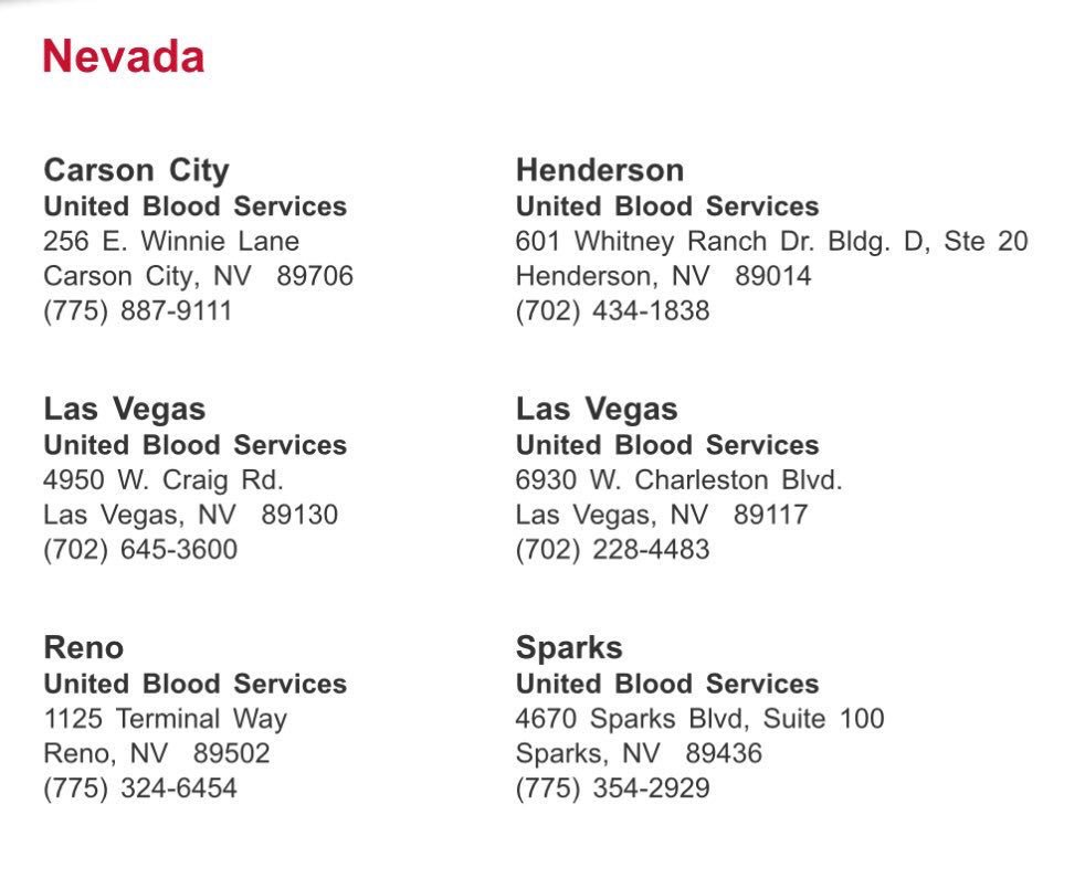 Where you can donate blood in #Vegas...