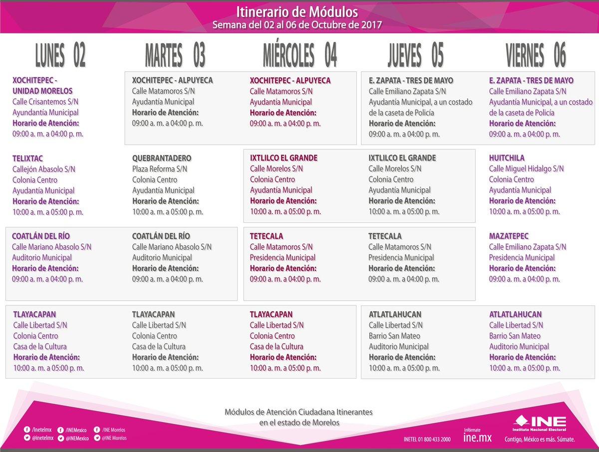 Ine Morelos On Twitter Itinerario De Módulos Móviles Del
