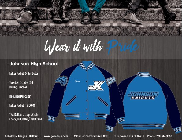 ga balfour on twitter order your johnson letter jackets tomorrow johnsonknights jhsxcountry wearitwithpride