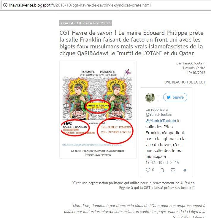 I&#39;ve been campaigning 4years denouncing mayor #EdouardPhilippe who lent #LeHavre municipal halls to pro #Qaradawi  http:// lhavraisverite.blogspot.fr/2015/10/cgt-ha vre-de-savoir-le-syndicat-prete.html &nbsp; …  <br>http://pic.twitter.com/XNqzAMUBq4
