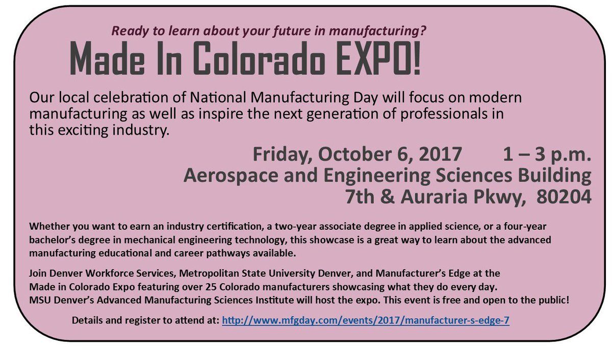 Deborah ortega on twitter learn more about local manufacturing deborah ortega on twitter learn more about local manufacturing jobs and certifications at the made in colorado expo october 6 2017 xflitez Images