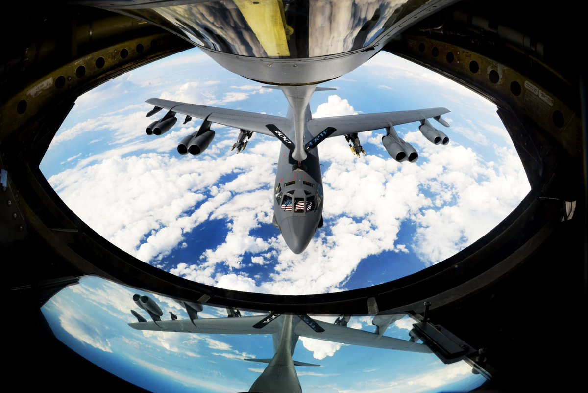 A B-52 from Barksdale AFB takes fuel from a KC-135 Stratotanker from @RAFMildenhall while flying above the Mediterranean Sea, Sept 27, 2017