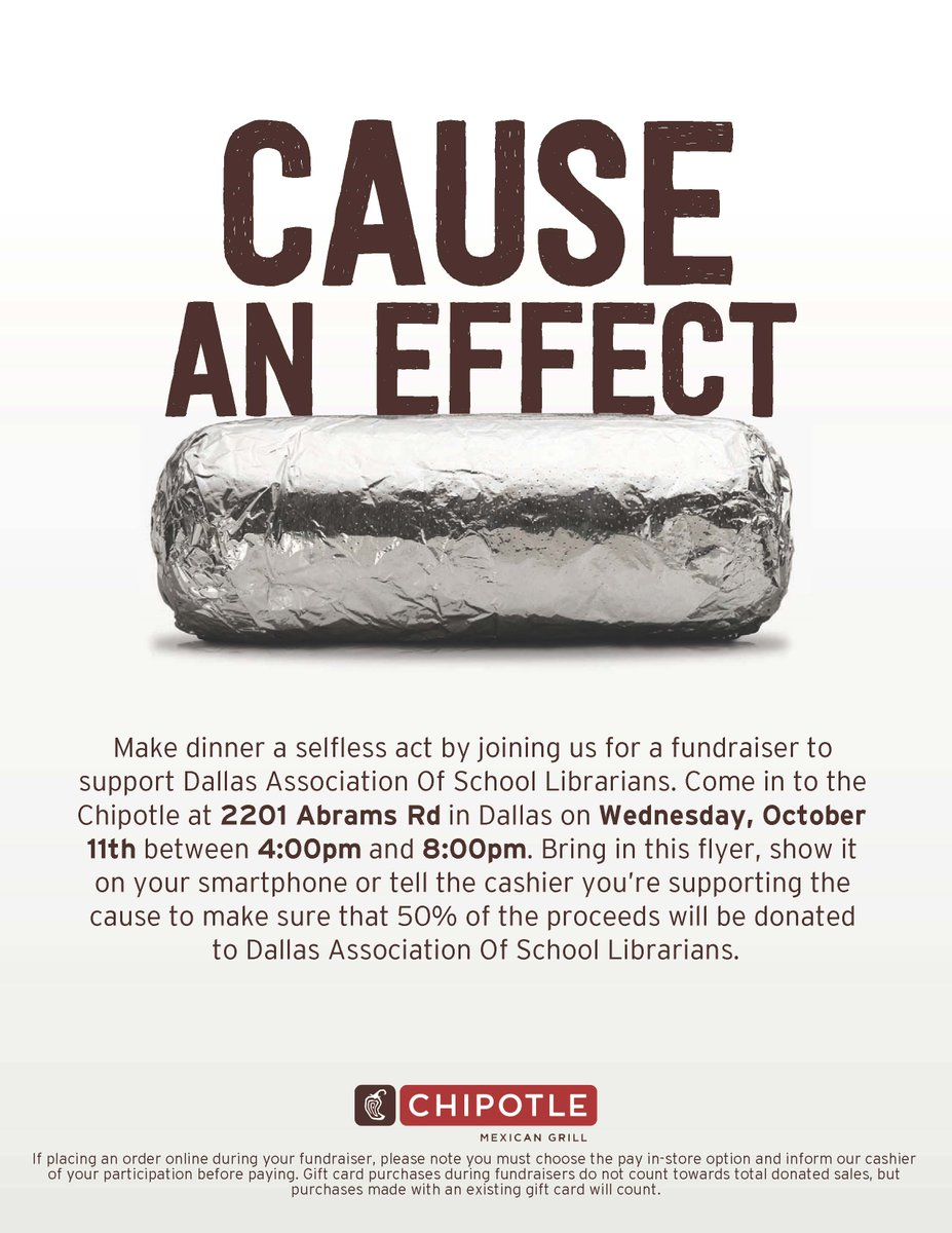 Support DASL with a visit to Chipotle on October 11th!