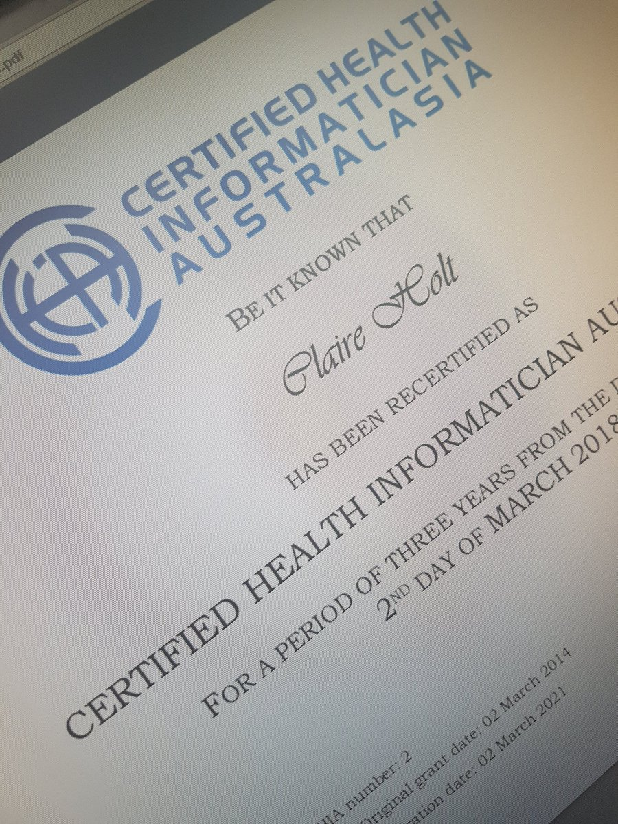 RT @clairemholt Woohoo, recertification done. It was easy. #CHIA #HISA #healthinformatics