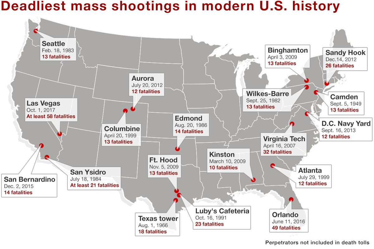 Modern Us Map.Yahoo News On Twitter Map The Deadliest Mass Shootings In Modern