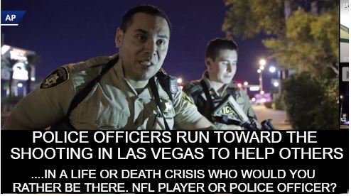 Police officers run toward the shooting in Las Vegas to help others #VegasStrong  #ThankACop #NFL  #MAGA #TakeAKnee