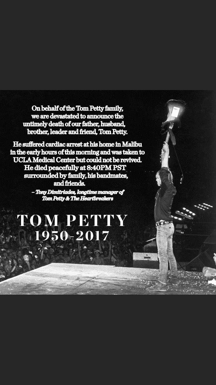 Another legend leaves us ... my thoughts are with his family and friends..  #TomPetty #RIPTOM https://t.co/RCjf9QoYXB