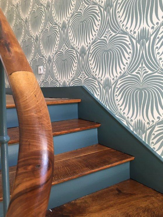 farrow ball france on twitter dans cet escalier accord parfait entre notre teinte inchyra. Black Bedroom Furniture Sets. Home Design Ideas