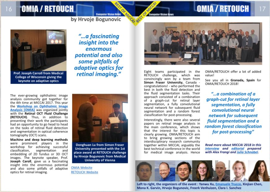 RETOUCH challenge and Ophthalmic Medical Image Analysis workshop in Computer Vision News #miccai2017  http://www. rsipvision.com/ComputerVision News-2017October/#16 &nbsp; …  <br>http://pic.twitter.com/OyBijZmsjA