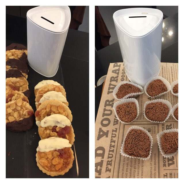 Florentine vs. Brigadeiro: the contenders for the Saatchi Charity Bake Off, week 2. Left or right? #bakeoff #adland https://t.co/faodnsGij9