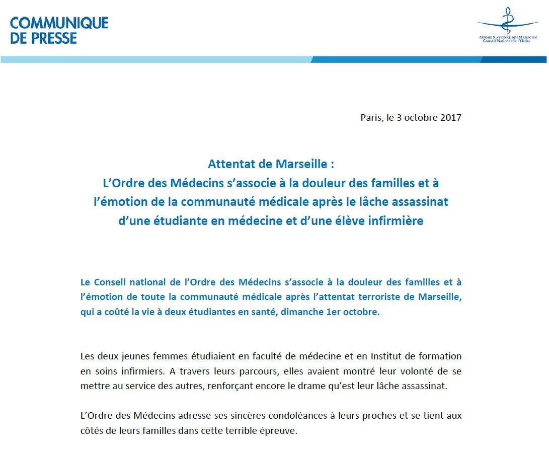 Ordre Des Medecins On Twitter Attentat Marseille L Ordre S