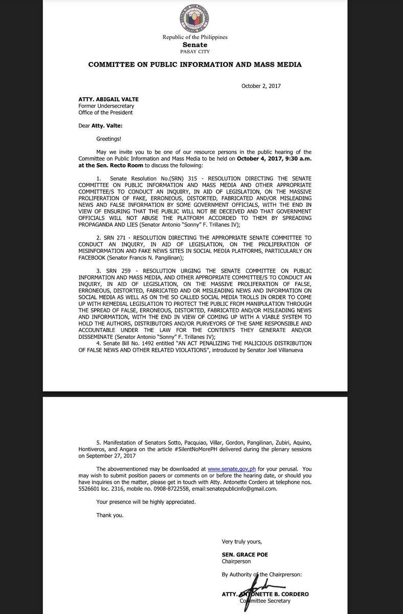 .@Abi_Valte Senate Public info cttee invites you to 9:30 a.m. hearing tom, Oct4 at the @senatePH