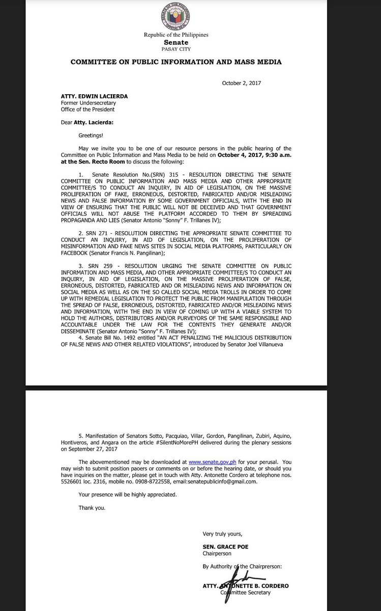 .@dawende Senate Public info cttee invites you to 9:30 a.m. hearing tom, Oct4 at the @senatePH