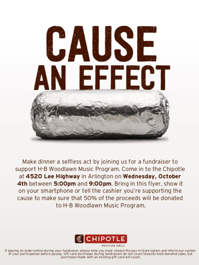 And after Walk/Bike to School tomorrow, come dine <a target='_blank' href='http://twitter.com/chipotle'>@chipotle</a> in Lee Heights - 5-9 pm. Let them know you're supporting HBW Music! <a target='_blank' href='https://t.co/LatRu5mlJj'>https://t.co/LatRu5mlJj</a>