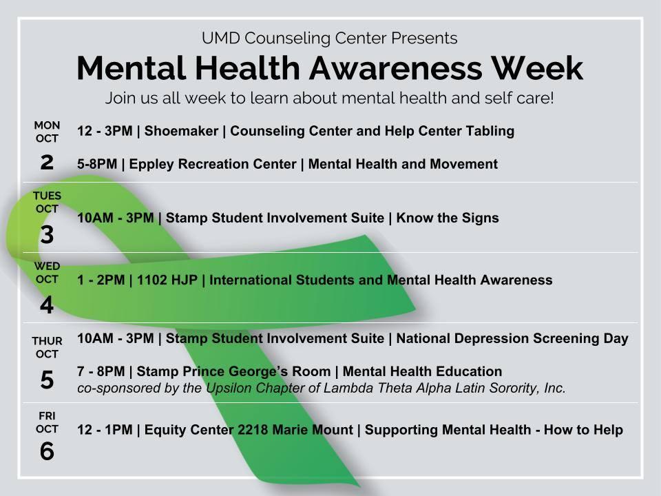 Gradstudentlife Umd On Twitter Its Mental Health Awareness Week